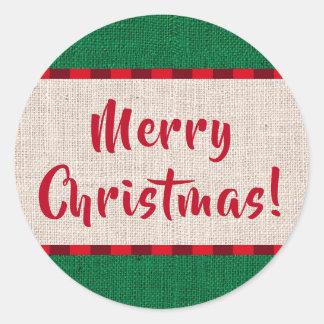 Sticker Rond Texture de toile de jute de Joyeux Noël