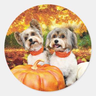 Sticker Rond Thanksgiving de chute - maximum et Lion - Yorkies