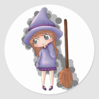 Sticker Rond the witch girl.