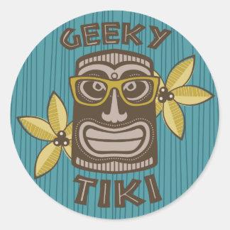 Sticker Rond Tiki Geeky