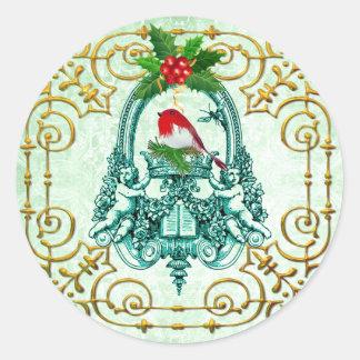 Sticker Rond Tis la saison, peu de joints rouges d'enveloppe de