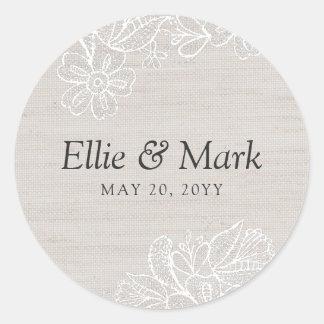 Sticker Rond Toile de jute et mariage de dentelle