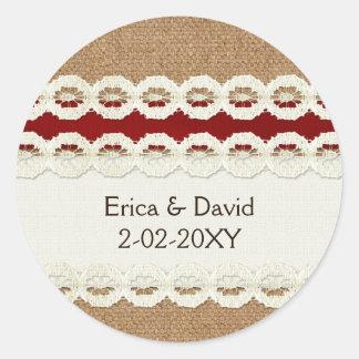 Sticker Rond Toile de jute rustique rouge et mariage campagnard