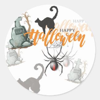 Sticker Rond Tombe d'araignée de Halloween