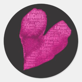 Sticker Rond Tout le coeur de rose de personnes sur les