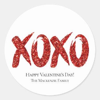 Sticker Rond Traçage chic rouge de jour de Valentines des