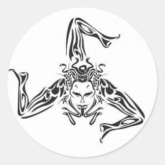 Sticker Rond Trinacria noir sur fond blanc