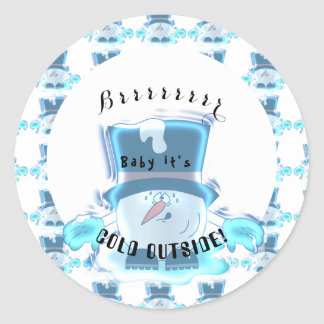 Sticker Rond Type congelé de Snowball - bébé c'est extérieur