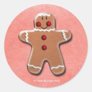 Sticker Rond Un biscuit heureux de pain d'épice