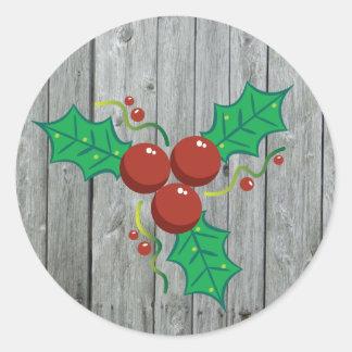 Sticker Rond Vacances en bois rustiques de Noël de baies de