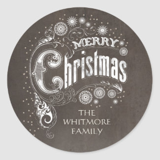 Sticker Rond Vacances vintages de Joyeux Noël de typographie