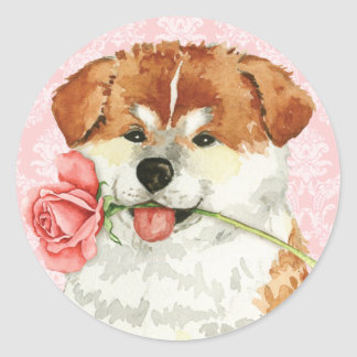 Sticker Rond Valentine Akita rose