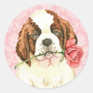 Sticker Rond Valentine St Bernard rose