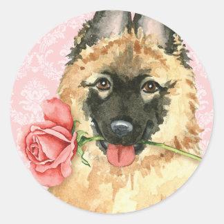 Sticker Rond Valentine Tervuren rose