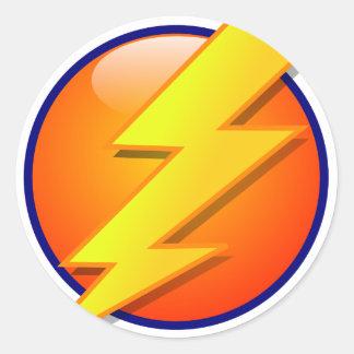 Sticker Rond vecteur d'icône d'énergie de globe de foudre