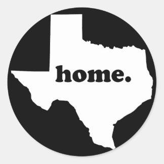 Sticker Rond Version 2 à la maison du Texas noire et blanc