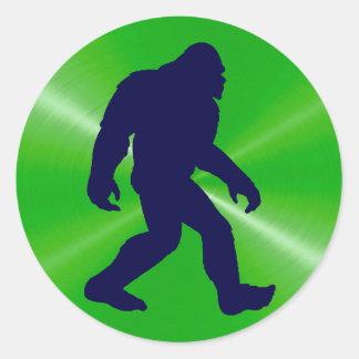 Sticker Rond Vert d'autocollant, de chaux de Bigfoot et noir