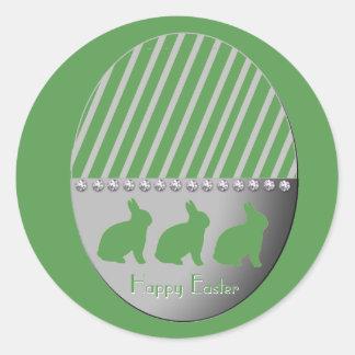 Sticker Rond Vert de lapins d'oeuf de pâques