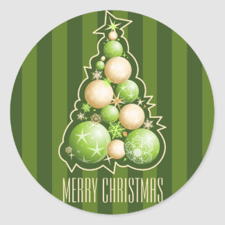 Sticker Rond Vert et arbre de Noël de bulles d'or