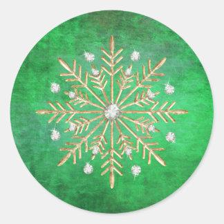 Sticker Rond Vert et or de flocons de neige de Noël