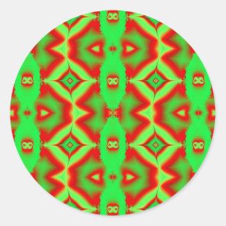 Sticker Rond vert rouge sauvage