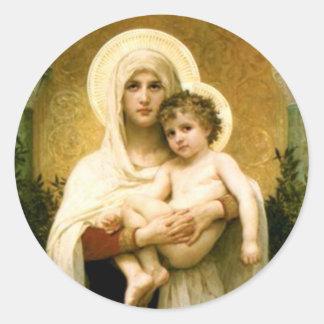 Sticker Rond Vierge Marie béni et enfant Jésus de nourrisson