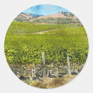 Sticker Rond Vignoble de vin de Californie