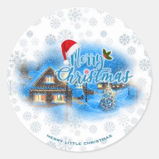 Sticker Rond Village magique de Noël