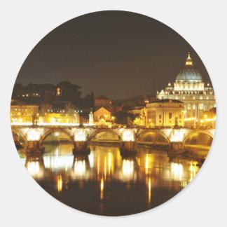 Sticker Rond Ville du Vatican, Rome, Italie la nuit