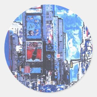 Sticker Rond Ville vintage du Times Square N Y d'affiche de