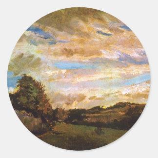 Sticker Rond Vincent van Gogh - paysage avec des beaux-arts de