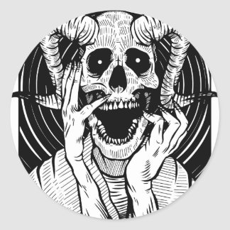 Sticker Rond visage de diable