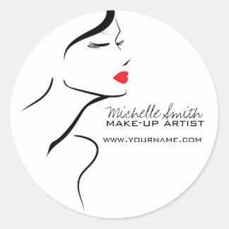 Sticker Rond Visage de femme d'icône de maquillage dans des