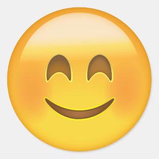 Sticker Rond Visage de sourire avec les yeux de sourire Emoji
