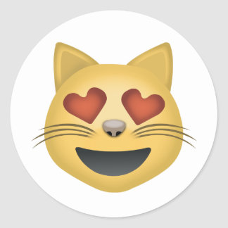 Sticker Rond Visage de sourire de chat avec les yeux en forme