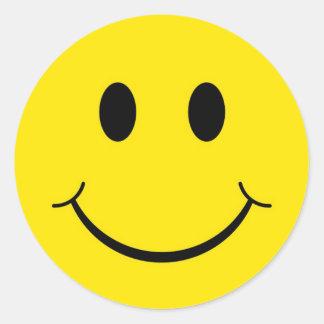 Sticker Rond Visage heureux souriant jaune des années 70