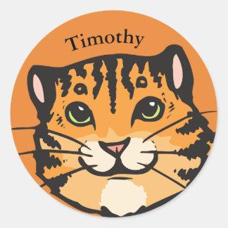 Sticker Rond Visage mignon personnalisé de tigre