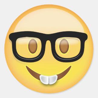 Sticker Rond Visage nerd Emoji