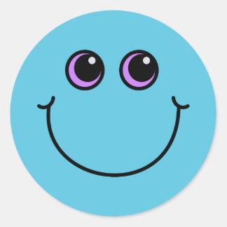 Sticker Rond Visage souriant bleu