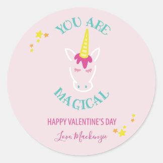 Sticker Rond Vous êtes jour de Valentines magique de licorne