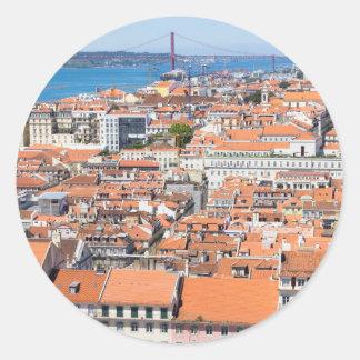 Sticker Rond Vue aérienne de Lisbonne, Portugal