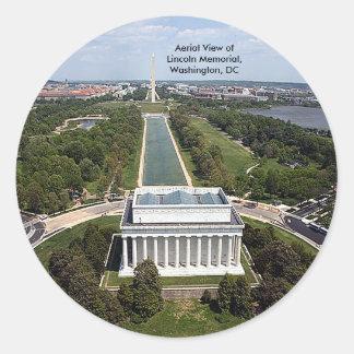 Sticker Rond Vue aérienne du Lincoln Memorial, Washington, D