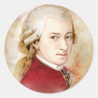 Sticker Rond Wolfgang Amadeus Mozart dans l'aquarelle style