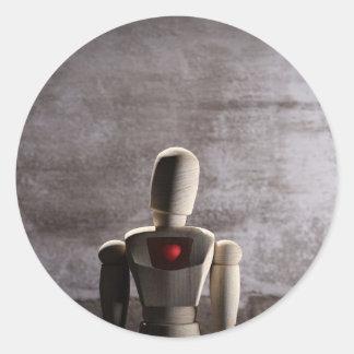 Sticker Rond Wooden mannequin prototype of human