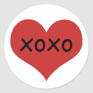 Sticker Rond Xoxo rouge traditionnel du coeur  