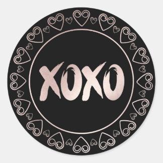 Sticker Rond XOXO rougissent manuscrit chic rose de traçages du