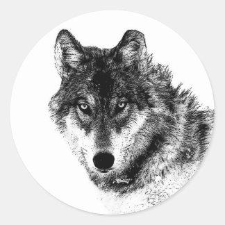 Sticker Rond Yeux inspirés blancs noirs de loup