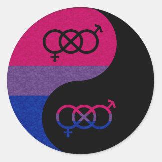 Sticker Rond Yin bisexuel et Yang