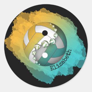 Sticker Rond Yin et yang son or nommé de turquoise de
