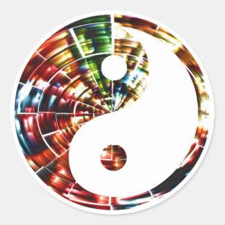 Sticker Rond Yin Yang - conception rouge d'étincelle